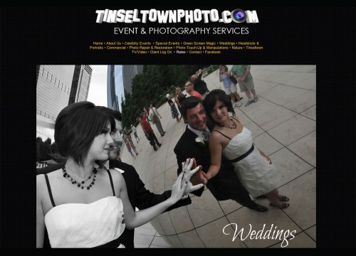 Home page of Tinseltown Photography website design with couple's reflection in the Bean