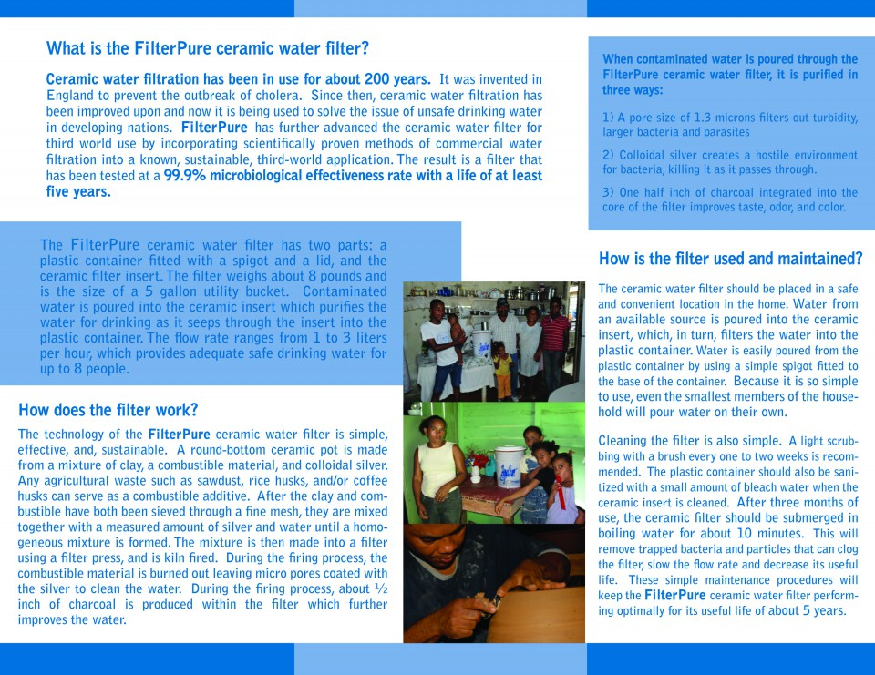 this is an example of Filter Pure's tri-fold brochure