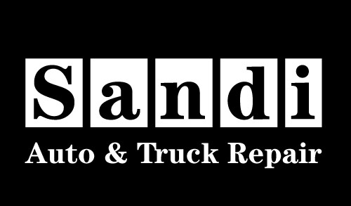 Sandi Auto's black and white auto body logo design