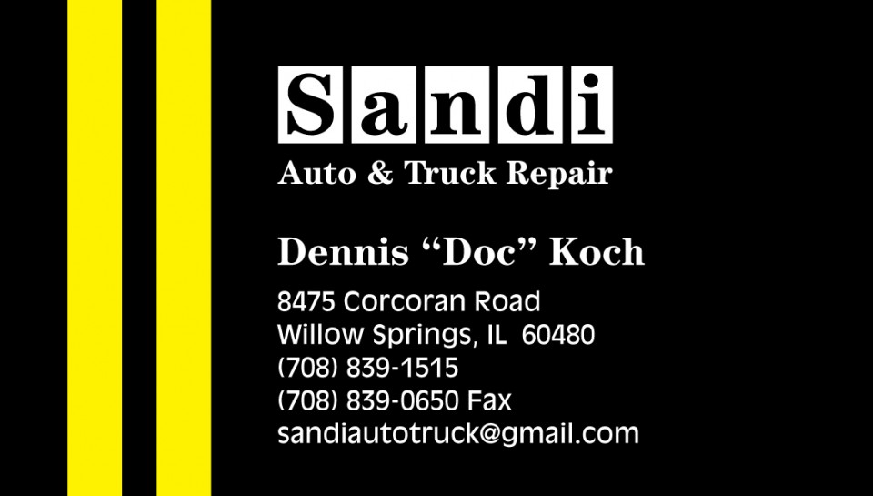 this is an example of Sandi Auto's auto repair business card