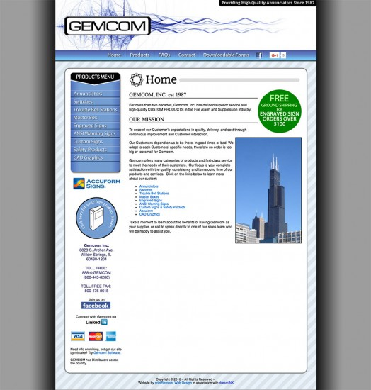 Home page of the Gemcom website design with information about their company