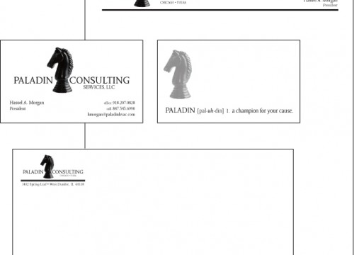 Paladin Consulting's business stationery design