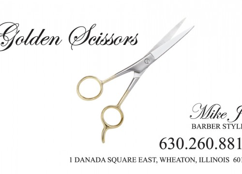 Golden Scissors Business Card Design