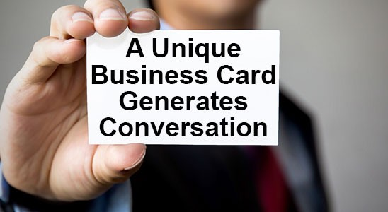Man holding business card saying a unique business card generates conversation