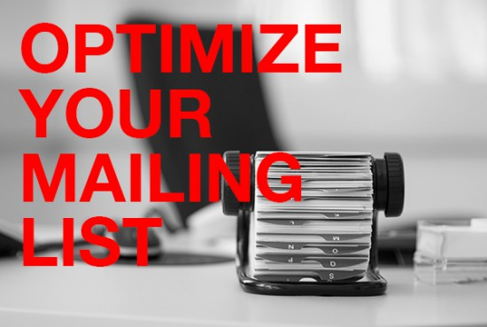 Rolodex on desk with Optimize Your Mailing List text