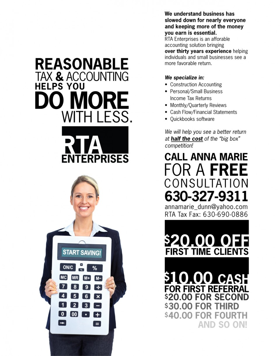 this is an example of RTA Enterprises' flyer design