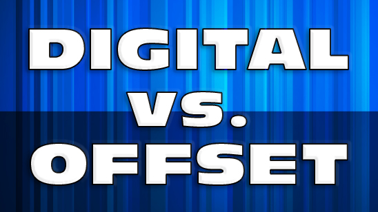 The words digital vs offset printing on blue background