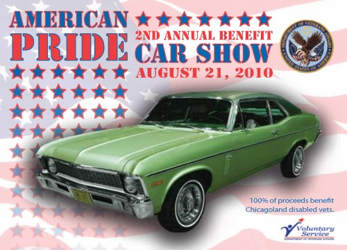 American Pride's custom car tag design with car on flag background