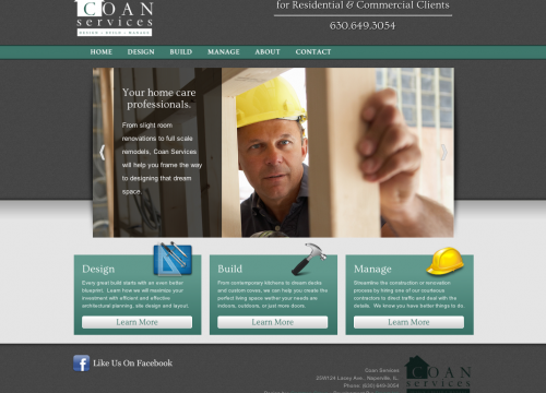 Image of contractor working on home in home remodeling website design