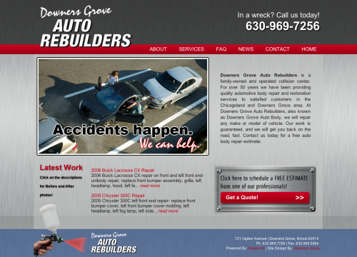 DG Auto home page image with car crash
