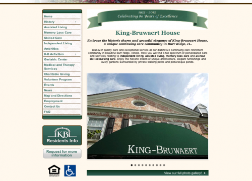 King Bruwaert senior living website design homepage and graphics