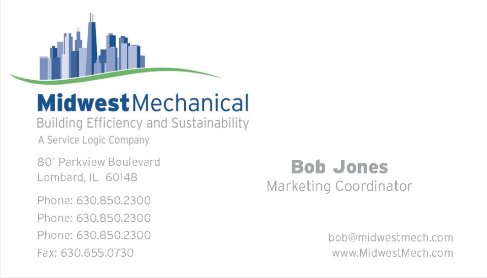 Midwest Mechanical Services' business card master