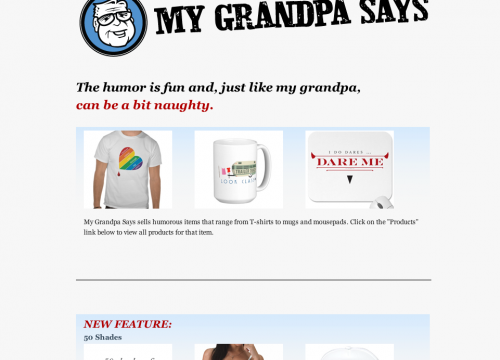 Home page of my Grandpa says storefront for e mail marketing campaign