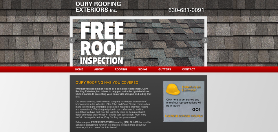 Image of Oury Roofing Website Design home page