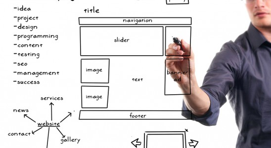 marketing image with man and business outline
