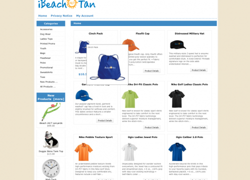 iBeach website homepage for e-commerce website design