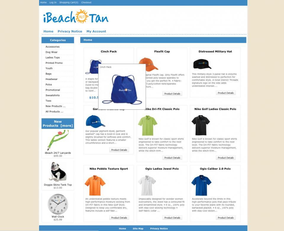 iBeach website homepage for e-commerce website design