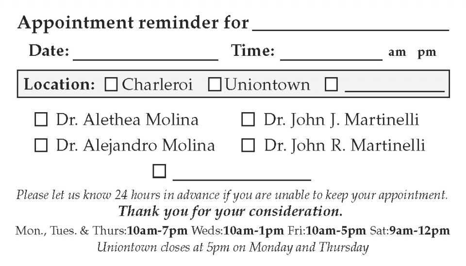 Appointment Card - Back