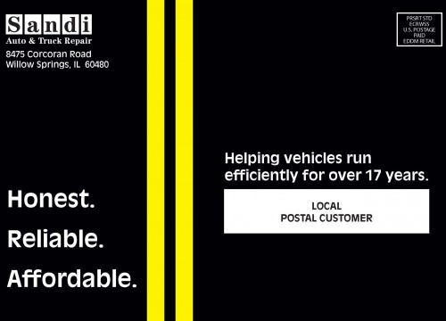 this is an example of Sandi Auto's EDDM postcards