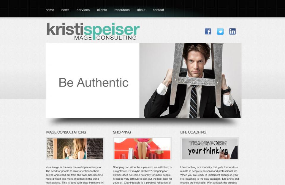 Homepage of Kristi Speiser's website for SEO services