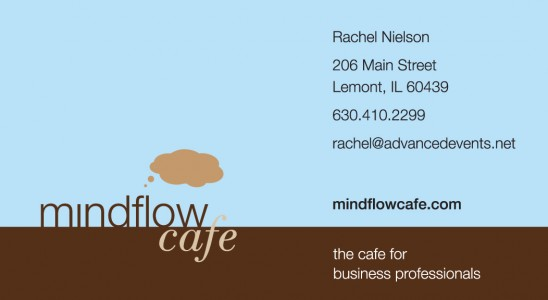 Front of Mindflow Cafe's digitally printed business card