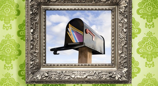 Picture frame with mailbox on green background for mastering the art of direct mail marketing