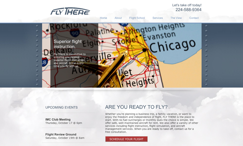 Homepage of Fly There, LLC's website design