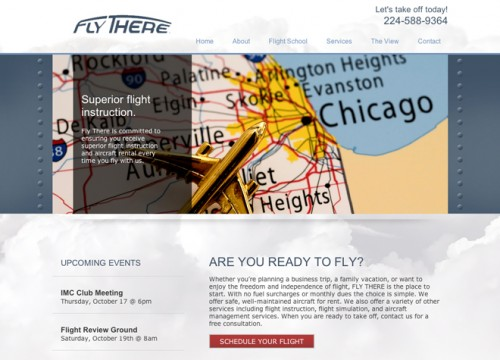 this is an example of Fly There, LLC's flight school website design