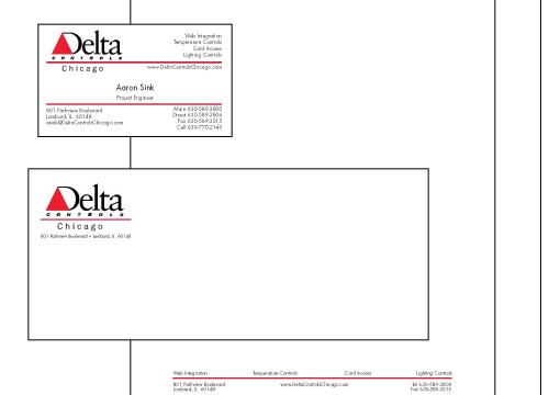 Delta Controls' business stationery and printing project