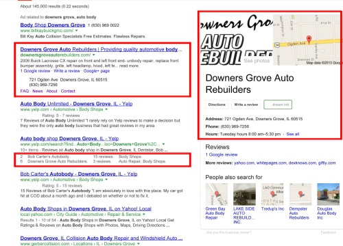 Screenshot of results of D.G. Auto's search engine optimization