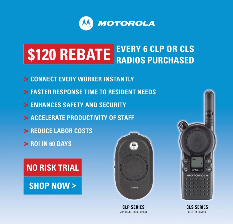 Web banner design with two way radios on blue background with $120 rebate