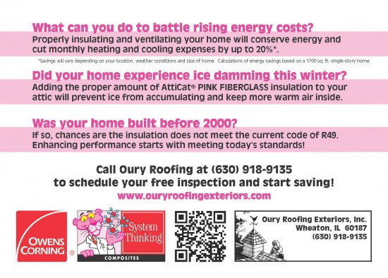Oury Roofing Postcard Printing - Back