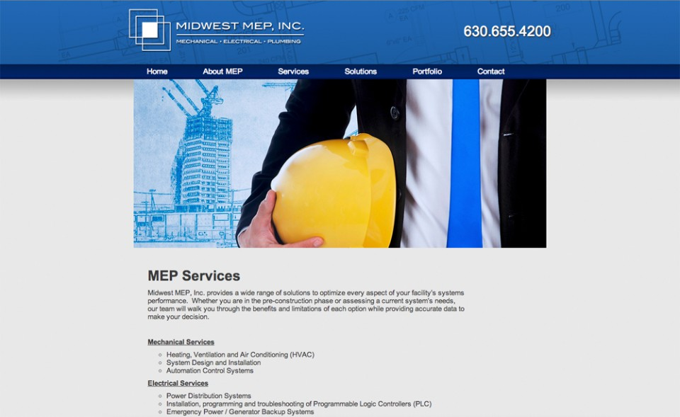 Midwest MEP Website Design - Services Page