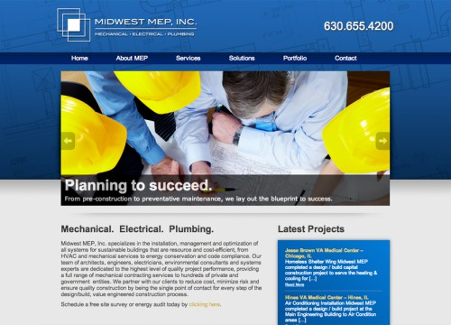 Home page image of Midwest MEP website design with men around table