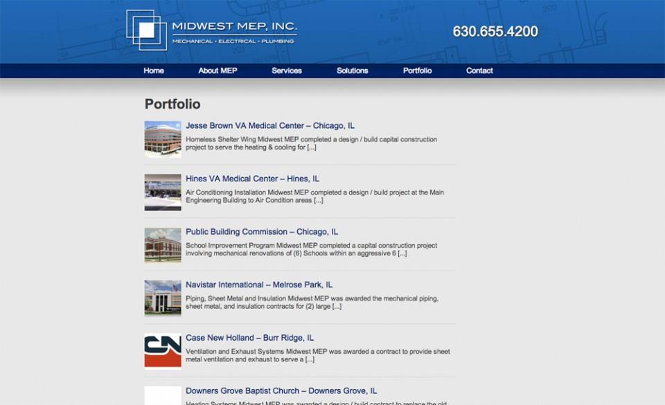 Midwest MEP Website Design - Portfolio Page