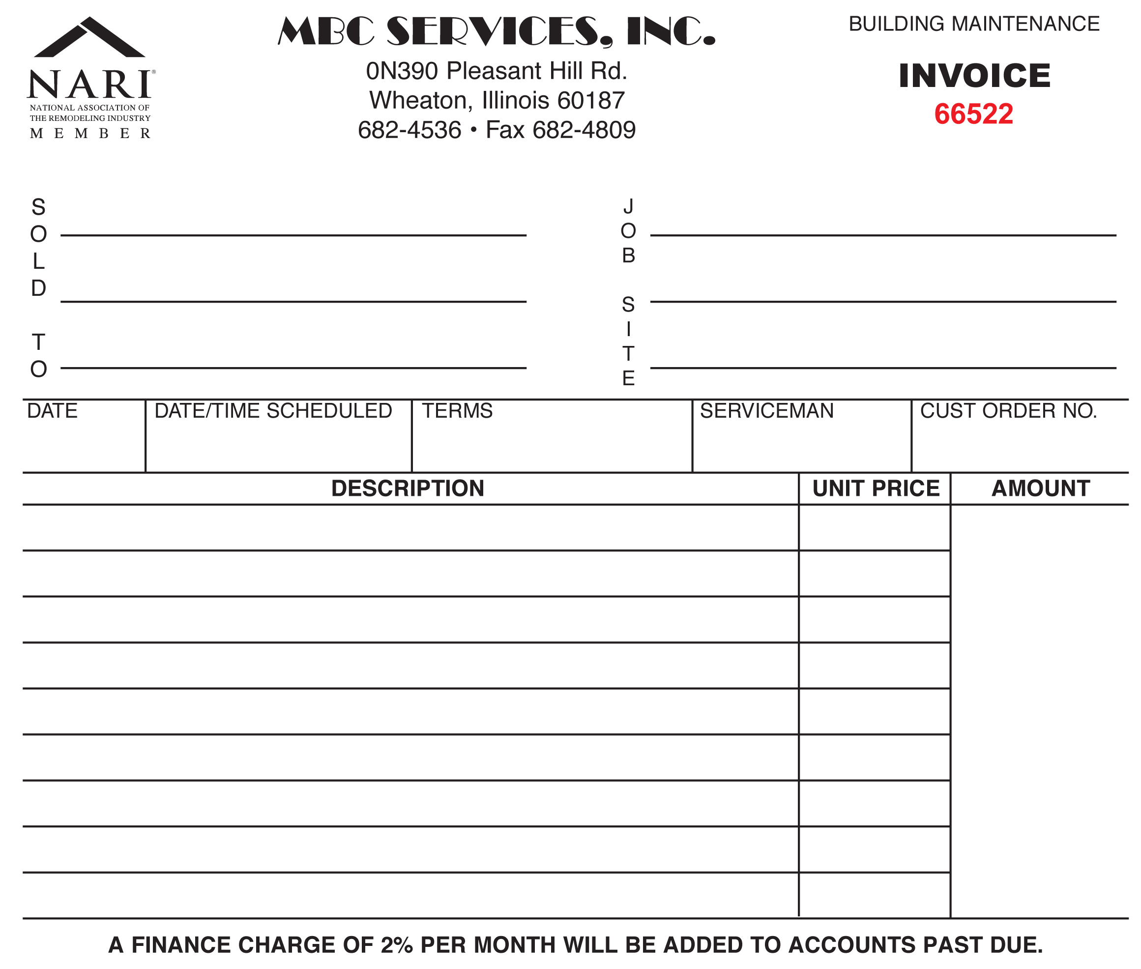 invoice form printing - dream ink