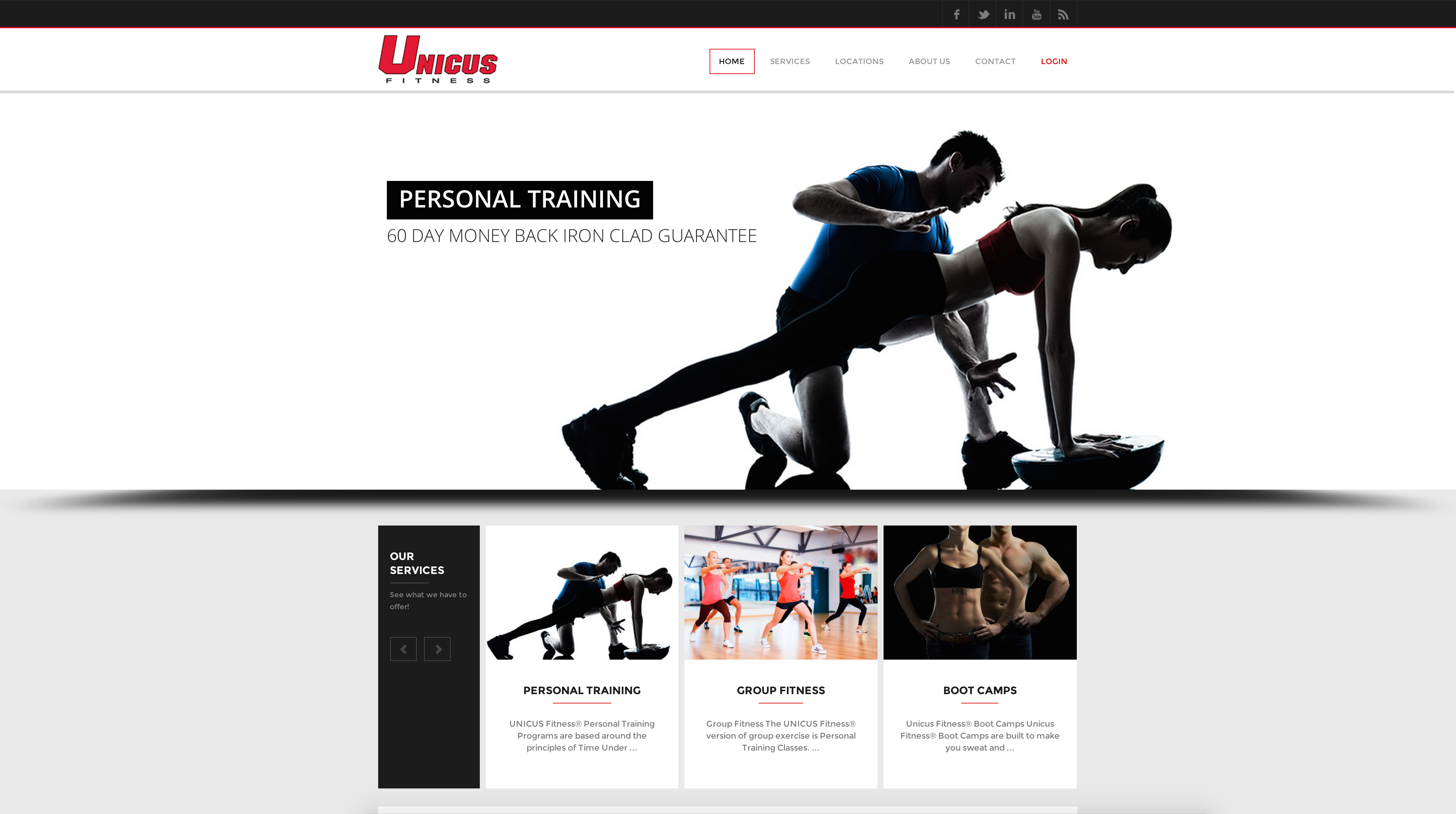 Image of Unicus Fitness website design home page with personal trainer