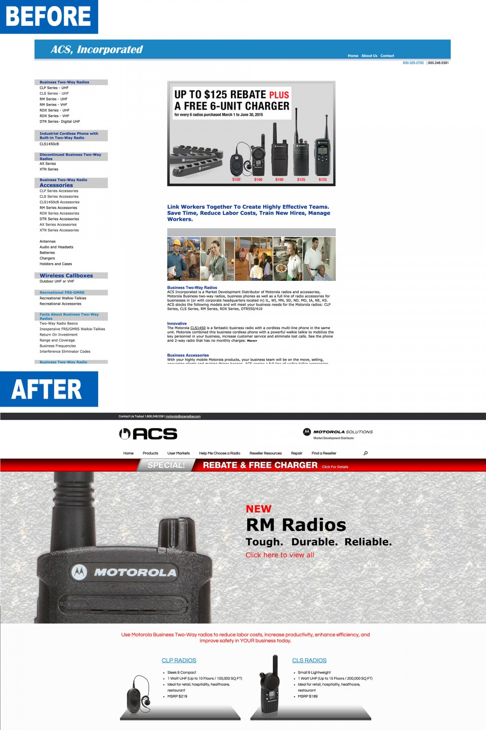 Before and after of ACS, Inc. home page for the distributor website design