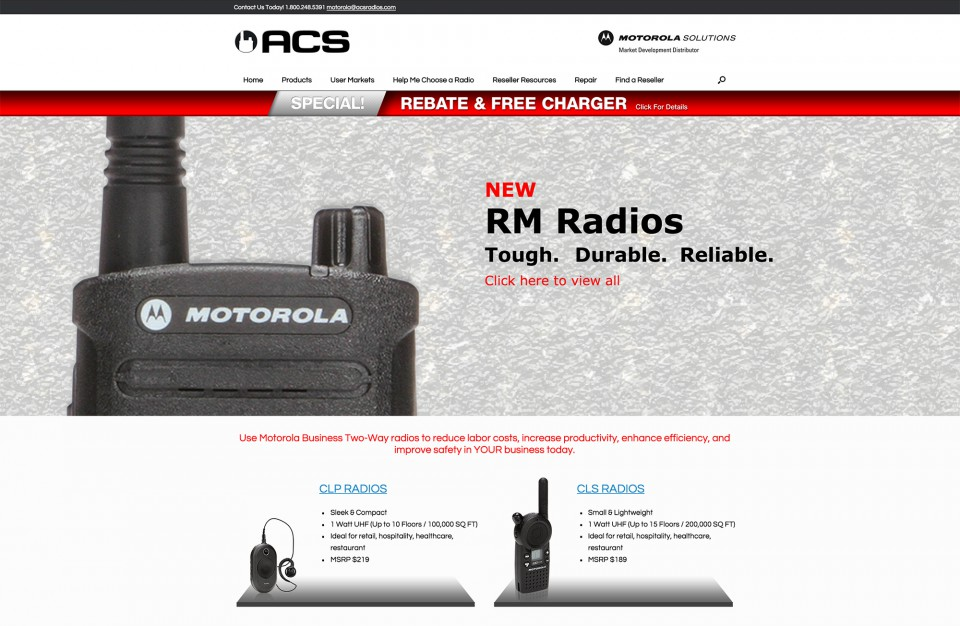 Image of ACS, Inc. home page for the distributor website design
