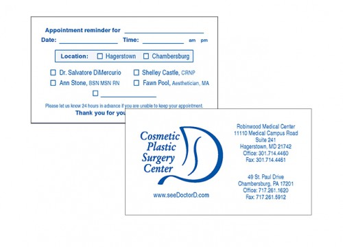 Picture of raised ink appointment card printing
