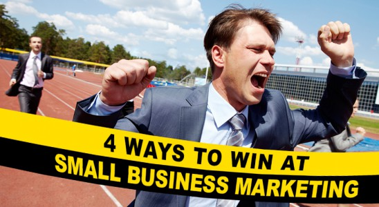 People on racetrack with 4 ways to win at small business marketing as finish line