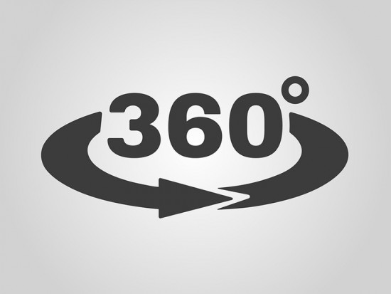 Symbol with arrow representing 360 degree photography services