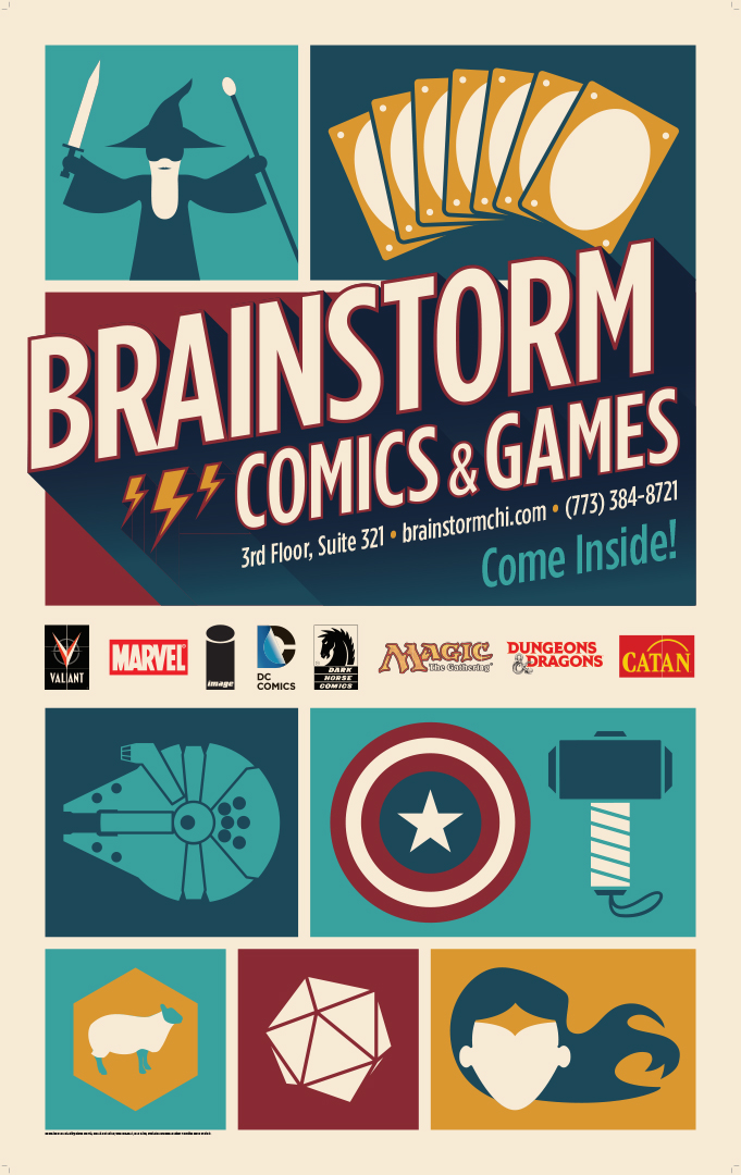 Full color banner printing that reads Brainstorm Comics and Games with superhero icons