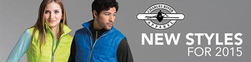 Man wearing jacket in front of Charles River custom apparel logo