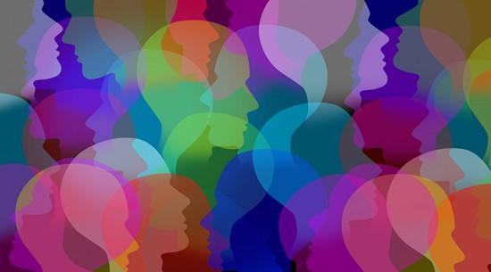 Various multicolored head profiles representing database acquisition