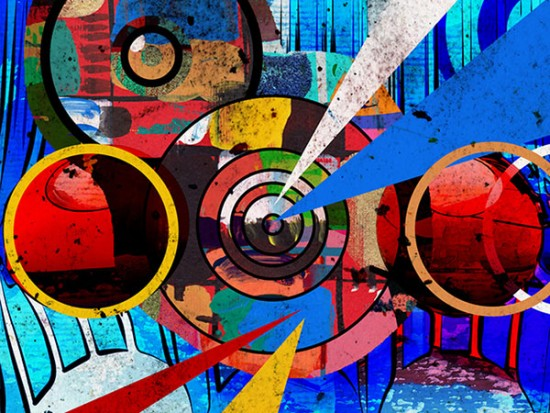 Colorful and abstract graphic design services artwork on canvas