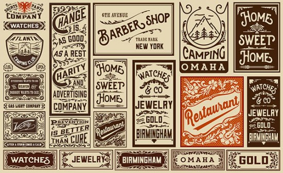 Examples of antique print advertising on tan background