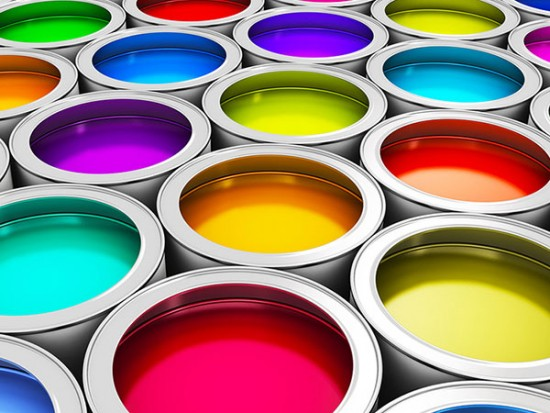 Group of paint cans for printing services page