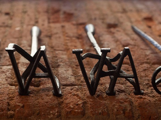 Branding irons with the letters VA for branded products section