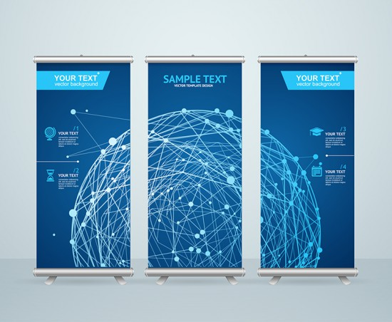 Banner stands with geometric design for trade show displays